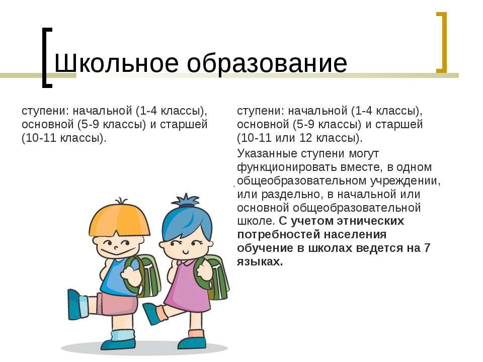 Школьное образование ступени: начальной (1-4 классы), основной (5-9 классы) и...