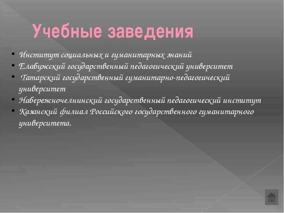 Учебные заведения Институт социальных и гуманитарных знаний Елабужский госуда...