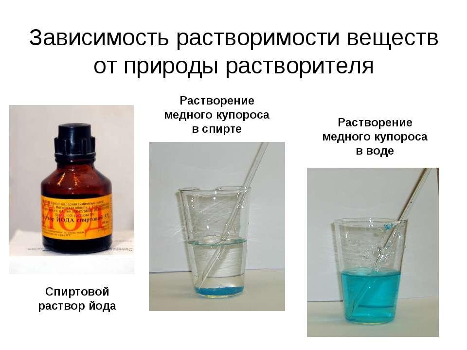 Зависимость растворимости веществ от природы растворителя Растворение медного...