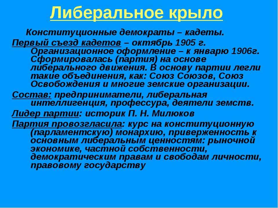 Либеральное крыло Конституционные демократы – кадеты. Первый съезд кадетов – ...