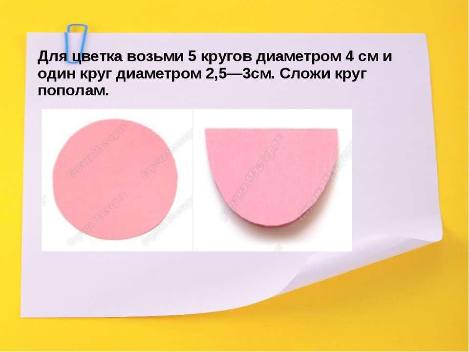 Для цветка возьми 5 кругов диаметром 4 см и один круг диаметром 2,5—3см. Слож...
