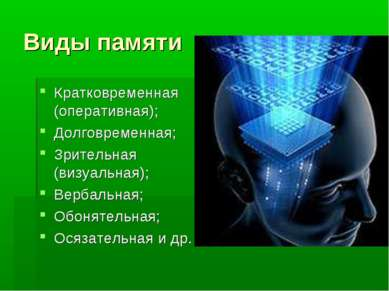 Виды памяти Кратковременная (оперативная); Долговременная; Зрительная (визуал...