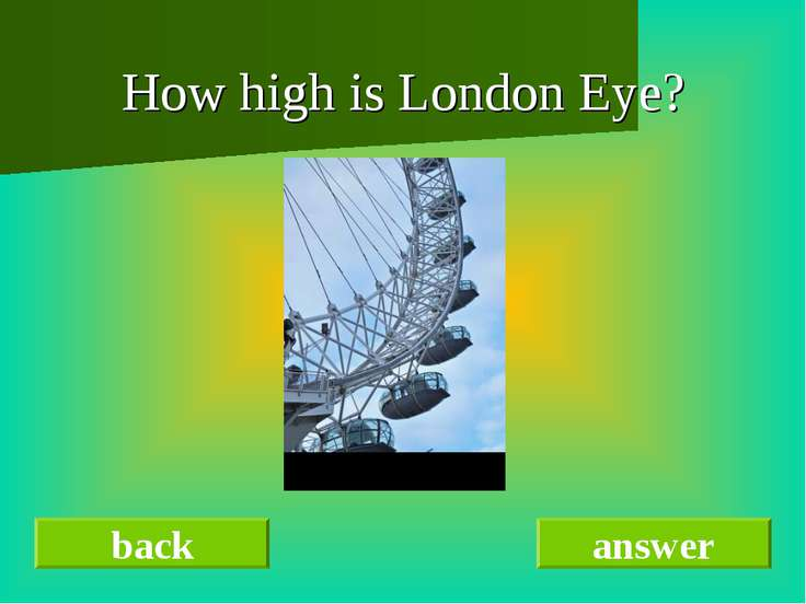 How high is London Eye? back answer