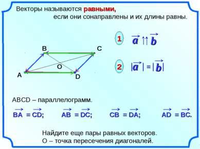 Векторы называются равными, если они сонаправлены и их длины равны. 1 2 Найди...