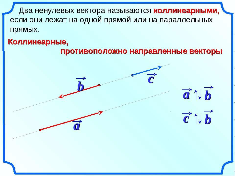Два ненулевых вектора называются коллинеарными, если они лежат на одной прямо...