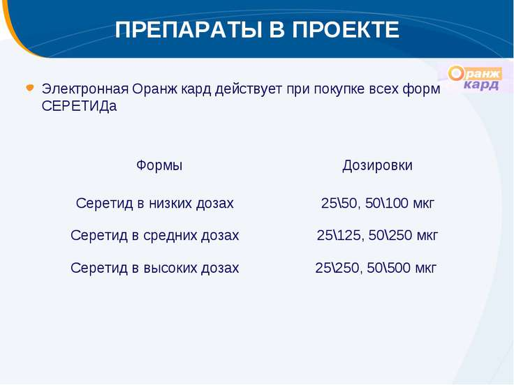 ПРЕПАРАТЫ В ПРОЕКТЕ Электронная Оранж кард действует при покупке всех форм СЕ...