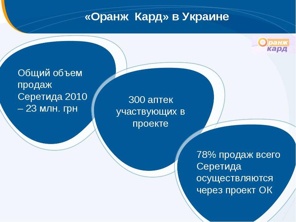 «Оранж Кард» в Украине Общий объем продаж Серетида 2010 – 23 млн. грн 300 апт...