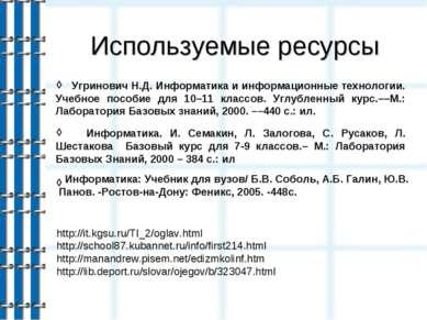 Используемые ресурсы ◊ ◊ http://it.kgsu.ru/TI_2/oglav.html http://school87.ku...