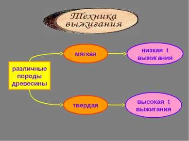 мягкая низкая t выжигания высокая t выжигания твердая различные породы древесины