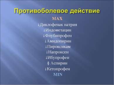 MAX ↓Диклофенак натрия ↓Индометацин ↓Флубипрофен ↓Амидопирин ↓Пироксикам ↓Нап...