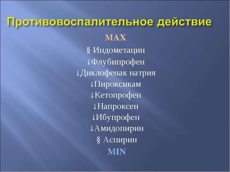 MAX ↓Индометацин ↓Флубипрофен ↓Диклофенак натрия ↓Пироксикам ↓Кетопрофен ↓Нап...