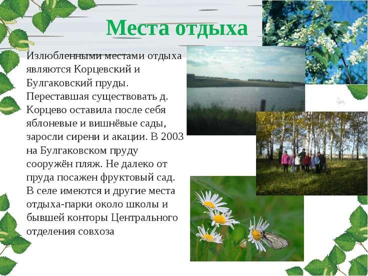 Места отдыха Излюбленными местами отдыха являются Корцевский и Булгаковский п...