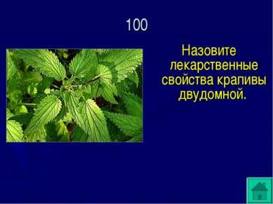Назовите лекарственные свойства крапивы двудомной. 100