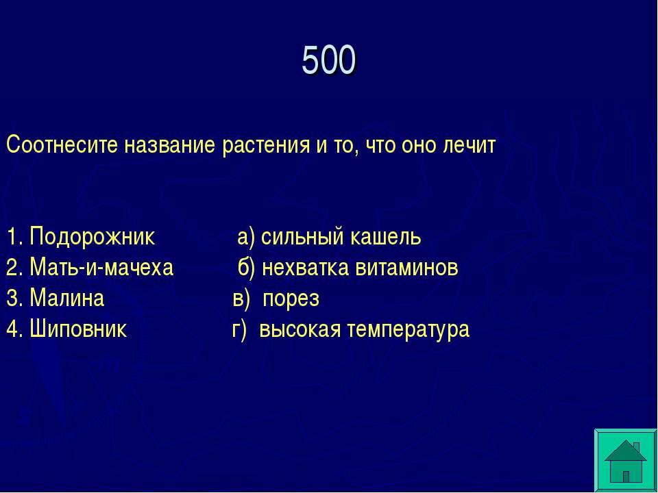 500 Соотнесите название растения и то, что оно лечит 1. Подорожник а) сильный...