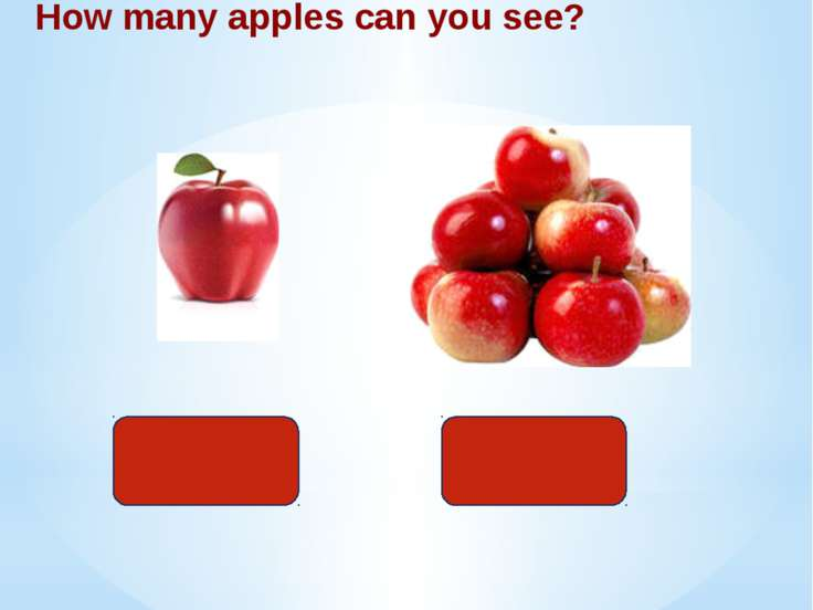 одно How many apples can you see? много