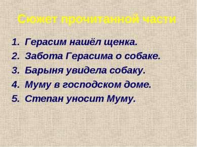 Сюжет прочитанной части Герасим нашёл щенка. Забота Герасима о собаке. Барыня...