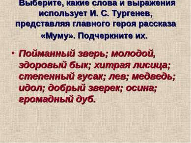 Выберите, какие слова и выражения использует И. С. Тургенев, представляя глав...