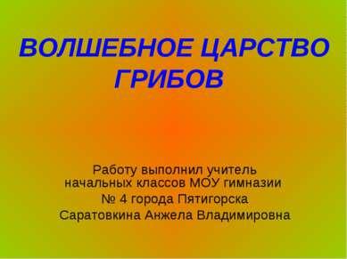Работу выполнил учитель начальных классов МОУ гимназии № 4 города Пятигорска ...
