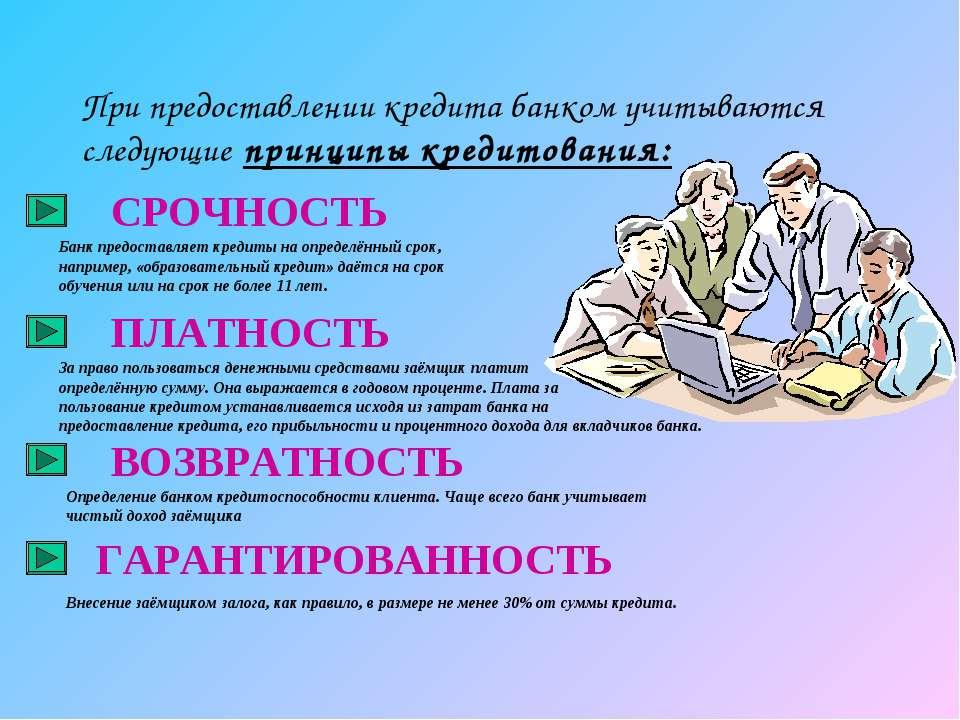 При предоставлении кредита банком учитываются следующие принципы кредитования...
