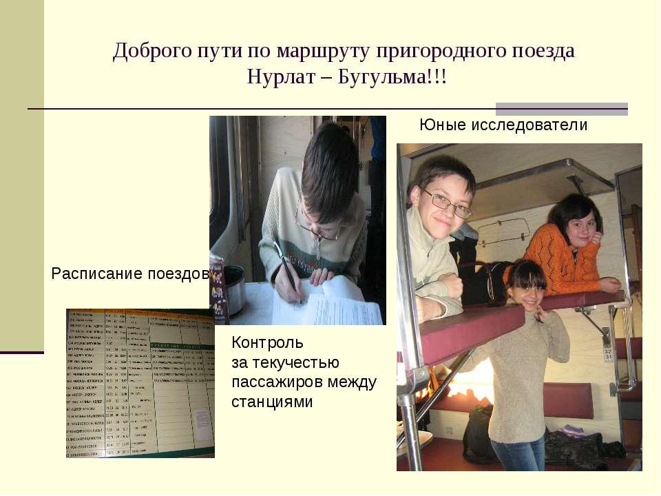 Доброго пути по маршруту пригородного поезда Нурлат – Бугульма!!! Расписание ...