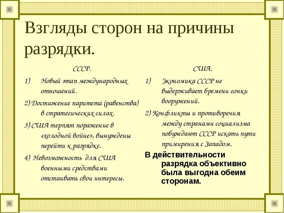 Взгляды сторон на причины разрядки. СССР. Новый этап международных отношений....