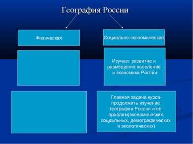 География России Физическая Социально-экономическая Изучает развитие и размещ...