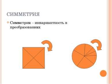 СИММЕТРИЯ Симметрия – инвариантность в преобразованиях