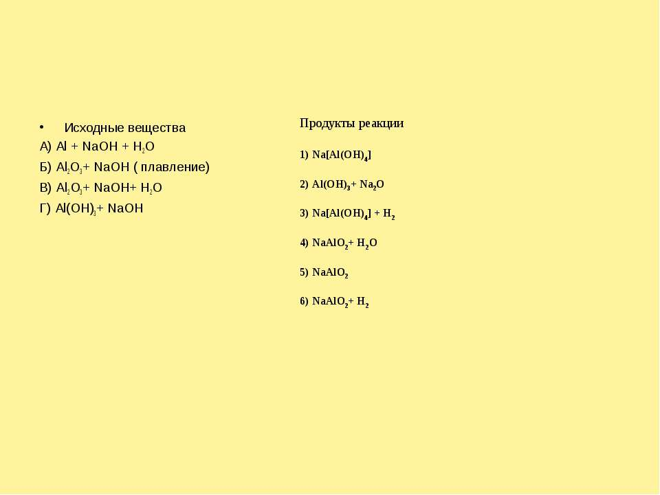 Исходные вещества А) Al + NaOH + H2O Б) Al2O3+ NaOH ( плавление) В) Al2O3+ Na...