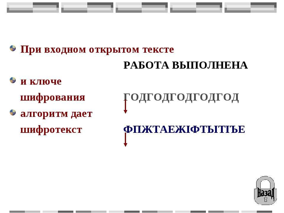 При входном открытом тексте РАБОТА ВЫПОЛНЕНА и ключе шифрования ГОДГОДГОДГОДГ...