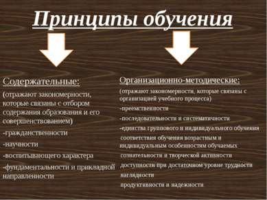 Принципы обучения Содержательные: (отражают закономерности, которые связаны с...