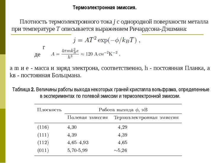 Термоэлектронная эмиссия. Плотность термоэлектронного тока j с однородной пов...