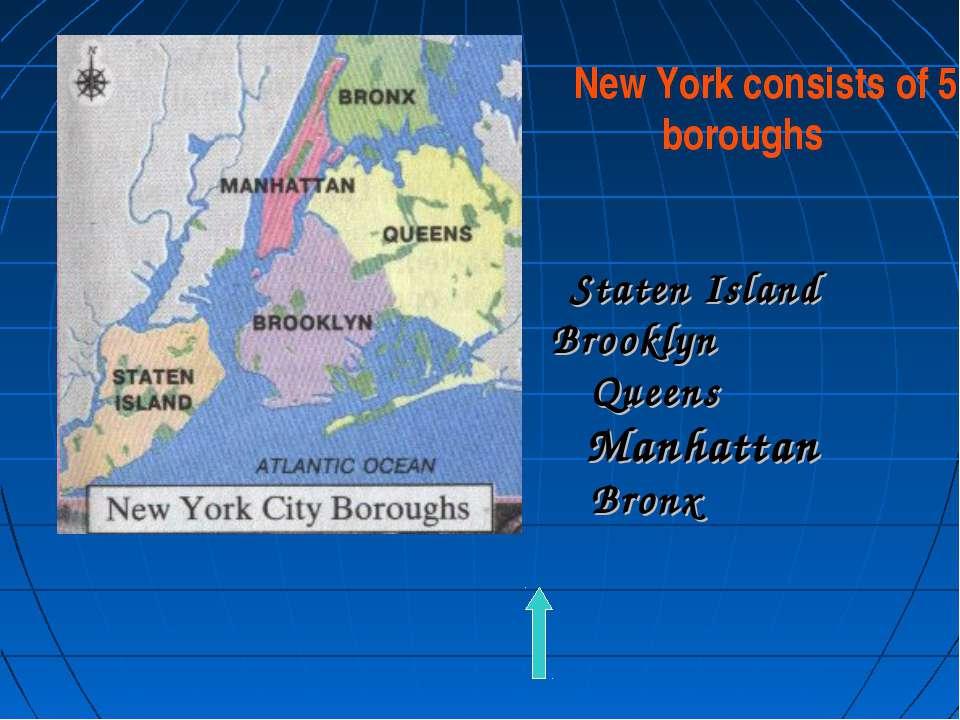 New York consists of 5 boroughs Staten Island Brooklyn Queens Manhattan Bronx