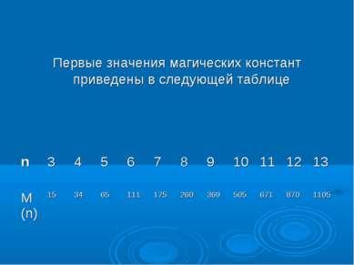 Первые значения магических констант приведены в следующей таблице