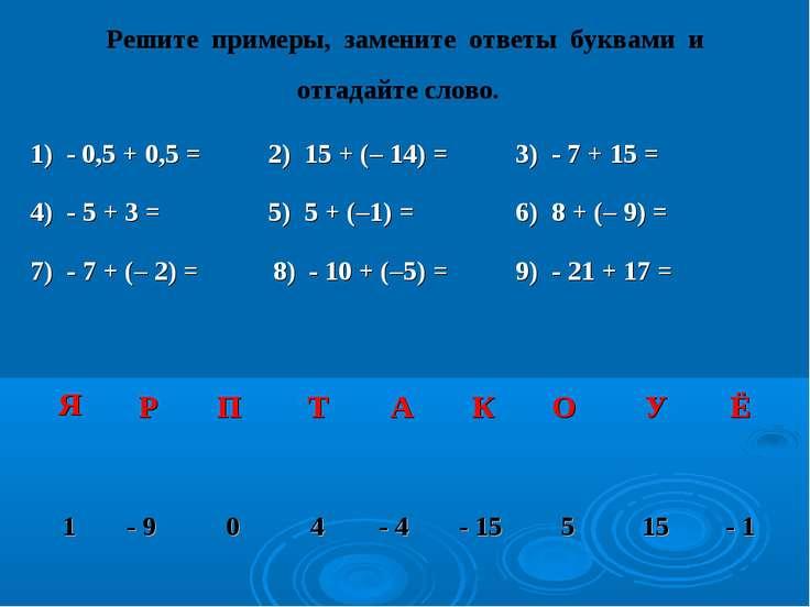 Решите примеры, замените ответы буквами и отгадайте слово. 1) - 0,5 + 0,5 = 2...