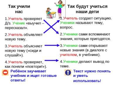 Так учили нас Так будут учиться наши дети Ребёнок заучивает учебник и ищет го...