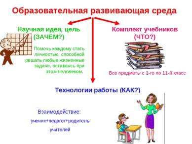 Образовательная развивающая среда Научная идея, цель (ЗАЧЕМ?) Помочь каждому ...