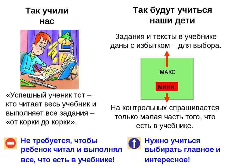 Так учили нас Так будут учиться наши дети Не требуется, чтобы ребенок читал и...