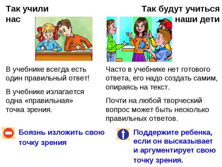 Так учили нас Так будут учиться наши дети Боязнь изложить свою точку зрения П...