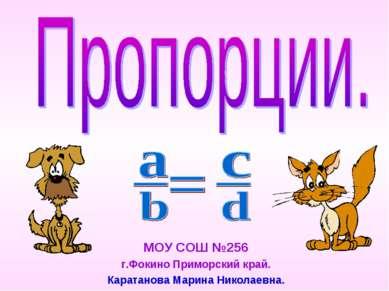 МОУ СОШ №256 г.Фокино Приморский край. Каратанова Марина Николаевна.