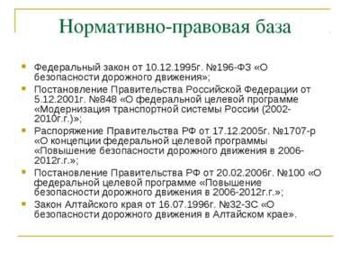 Нормативно-правовая база Федеральный закон от 10.12.1995г. №196-ФЗ «О безопас...
