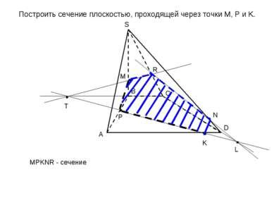 Построить сечение плоскостью, проходящей через точки M, P и K. A B C D S L T ...