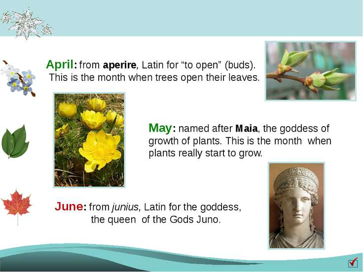 "April: from aperire, Latin for ""to open"" (buds). This is the month when trees..."