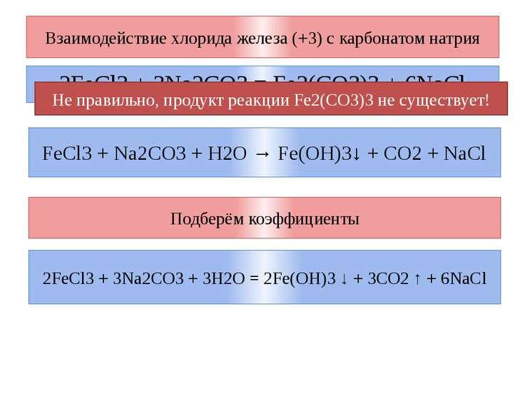 Взаимодействие хлорида железа (+3) с карбонатом натрия 2FeCl3 + 3Na2CO3 = Fe2...