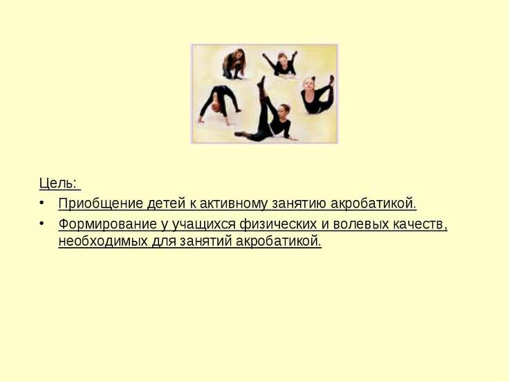 Цель: Приобщение детей к активному занятию акробатикой. Формирование у учащих...