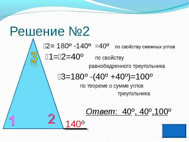 Решение №2 2= 180º -140º =40º по свойству смежных углов 1= 2=40º по свойству ...