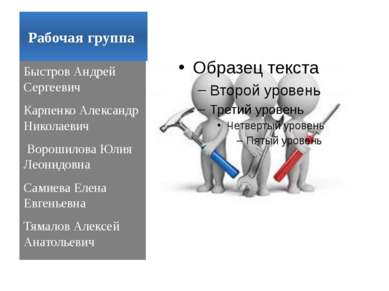 Рабочая группа Быстров Андрей Сергеевич Карпенко Александр Николаевич Ворошил...