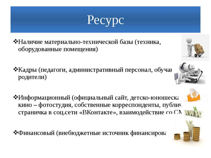 Ресурс Наличие материально-технической базы (техника, оборудованные помещения...