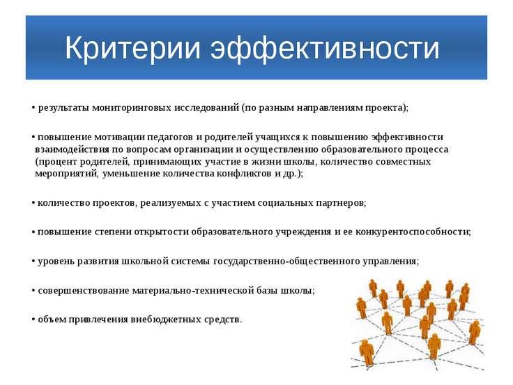 Критерии эффективности результаты мониторинговых исследований (по разным напр...