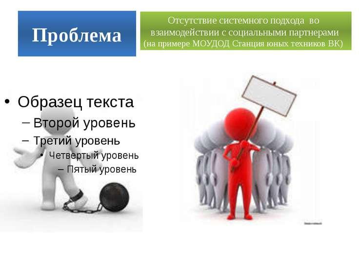 Проблема Отсутствие системного подхода во взаимодействии с социальными партне...