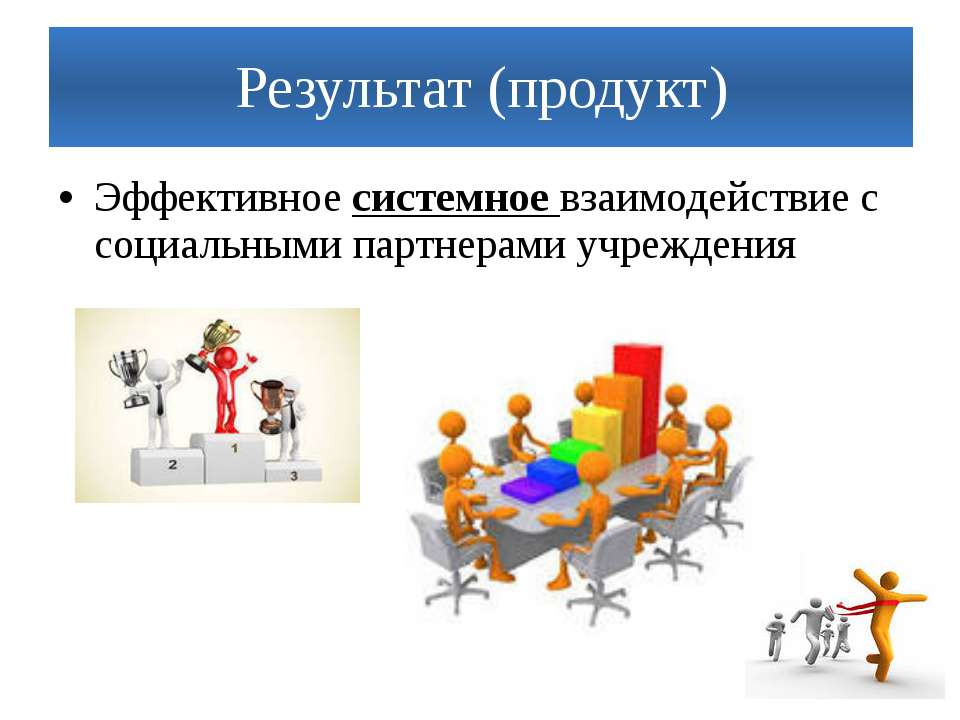 Результат (продукт) Эффективное системное взаимодействие с социальными партне...